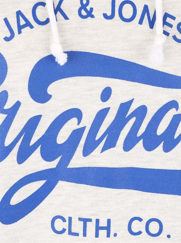 Hanorac alb fildes Jack & Jones Break cu imprimeu cu logo