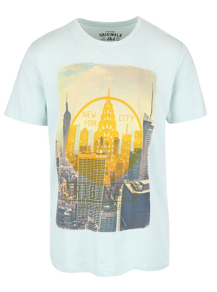 Svetlozelené tričko s potlačou Jack & Jones Cities