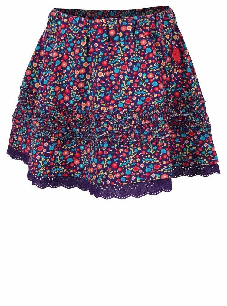 Fialová holčičí sukně s květinovým vzorem a krajkou Bóboli
