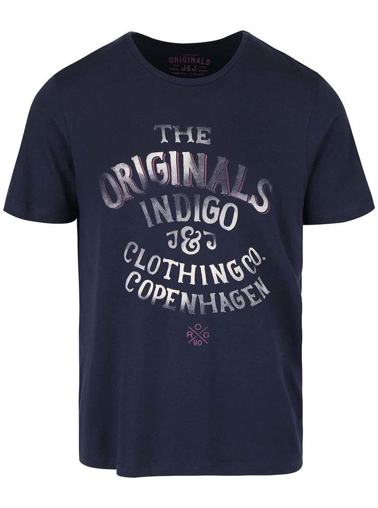 Tricou bleumarin din bumbacJack & Jones Type cu logo print