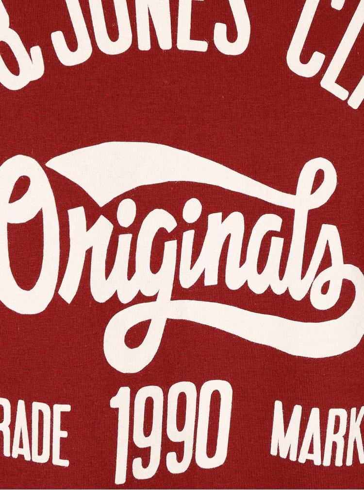 Tricou rosu inchis din bumbac Jack & Jones Rraffa cu logo imprimeu