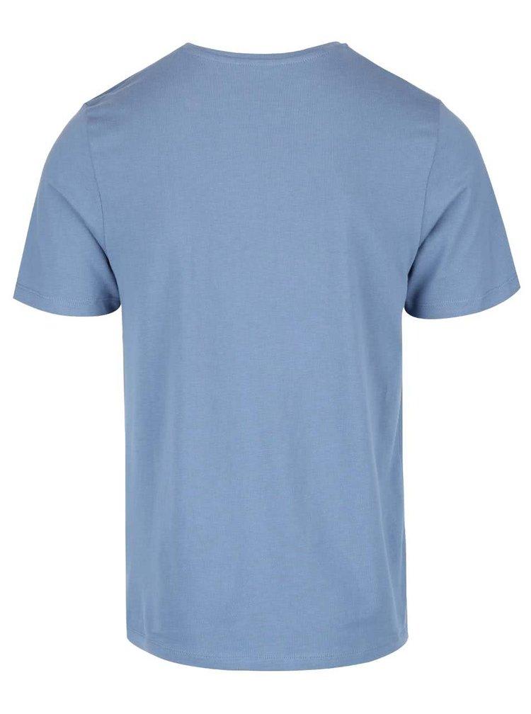 Tricou albastru din bumbac Jack & Jones Type cu logo print