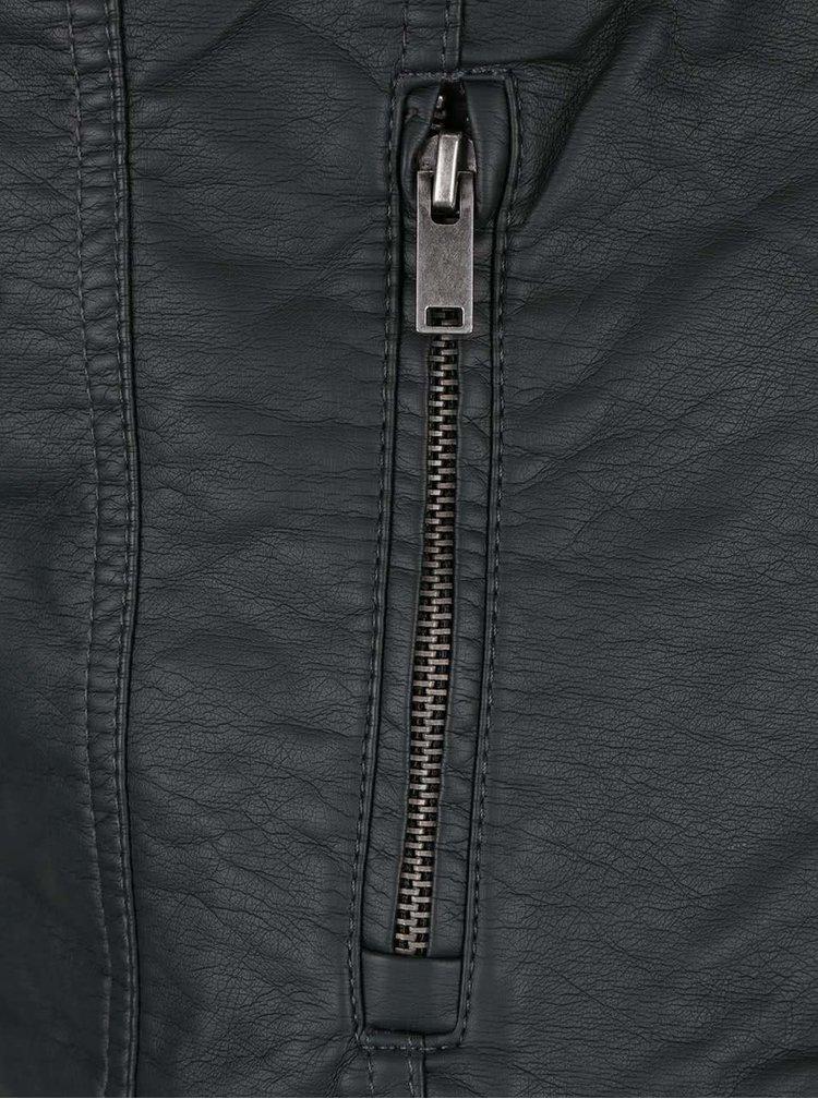 Tmavě šedá koženková bunda ONLY New Start