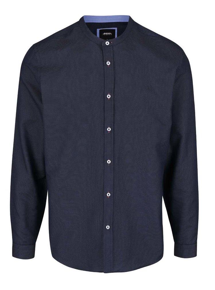 Tmavomodrá vzorovaná košeľa bez goliera Burton Menswear London