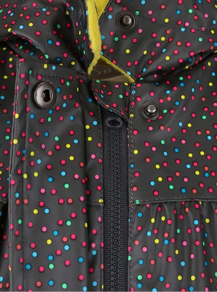Šedá holčičí nepromokavá bunda s puntíky Bóboli