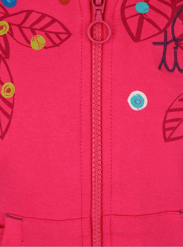 Ružová dievčenská mikina s potlačou a králičkom na vrecku Bóboli
