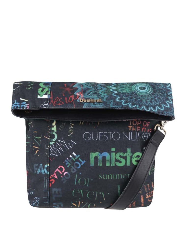 Černá crossbody kabelka s nápisy Desigual Ibiza Heritage