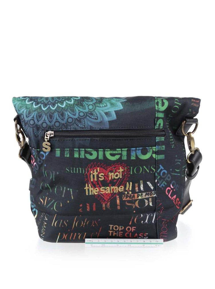 Čierna crossbody kabelka s nápismi Desigual Ibiza Heritage
