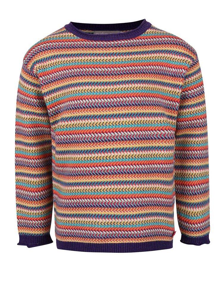 Fialový pruhovaný dievčenský sveter Bóboli