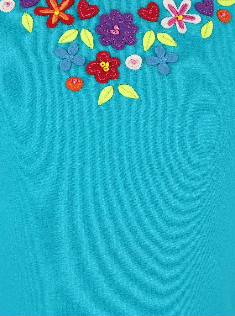 Tyrkysové dievčenské tričko s vyšitými kvetmi a králikom Bóboli