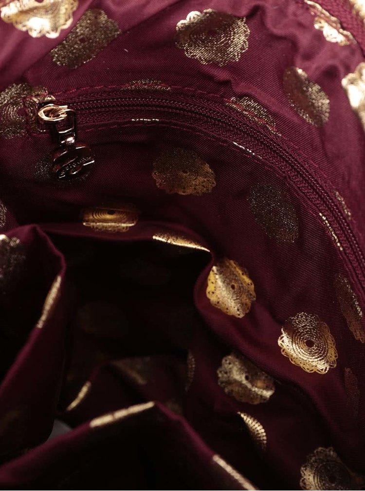 Vínová crossbody kabelka na zips Desigual Moscue