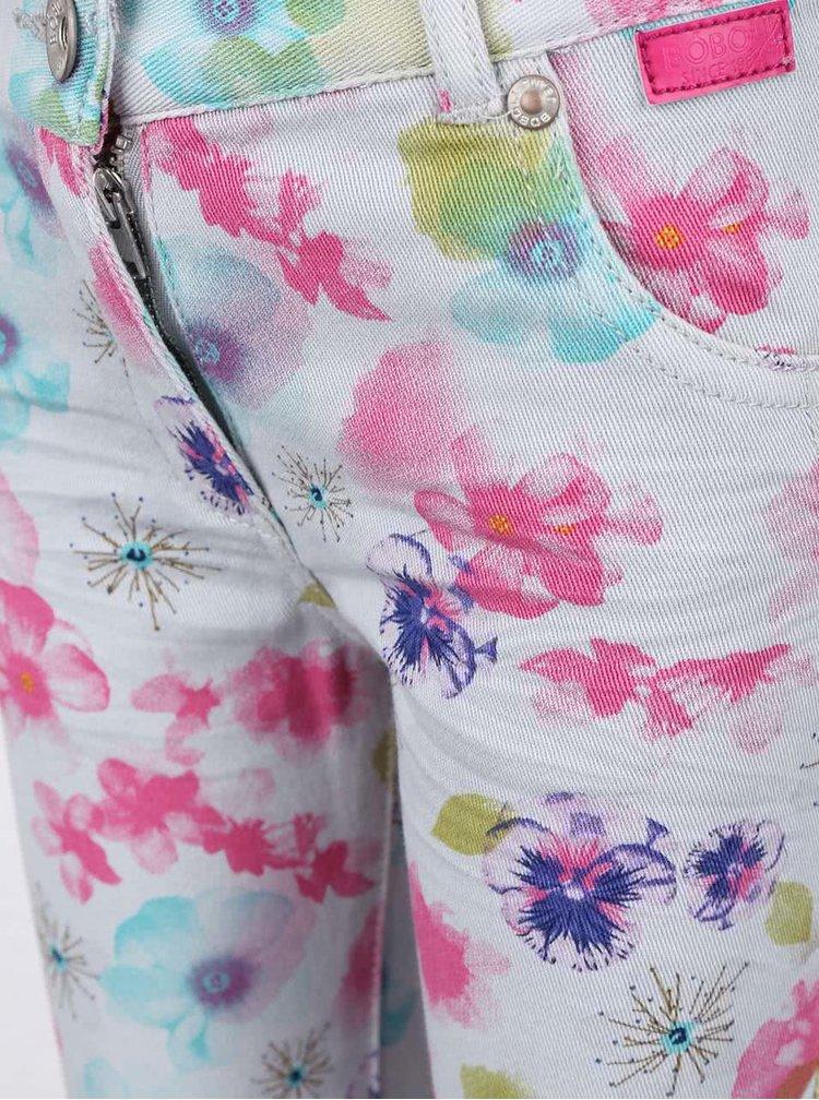 Sivé dievčenské nohavice s kvetinovým vzorom Bóboli