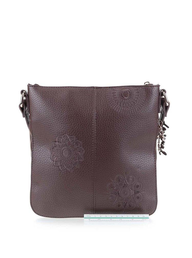 Hnedá crossbody kabelka na zips Desigual Moscue