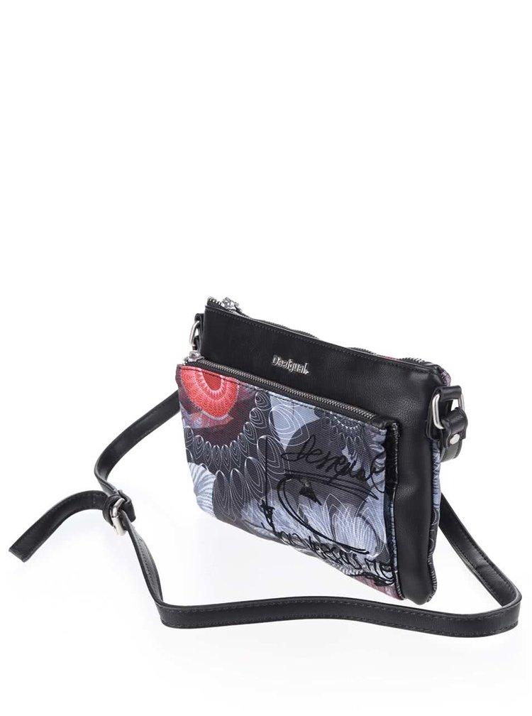 Čierna crossbody kabelka so sivo-červenými vzormi Desigual Toulouse Same