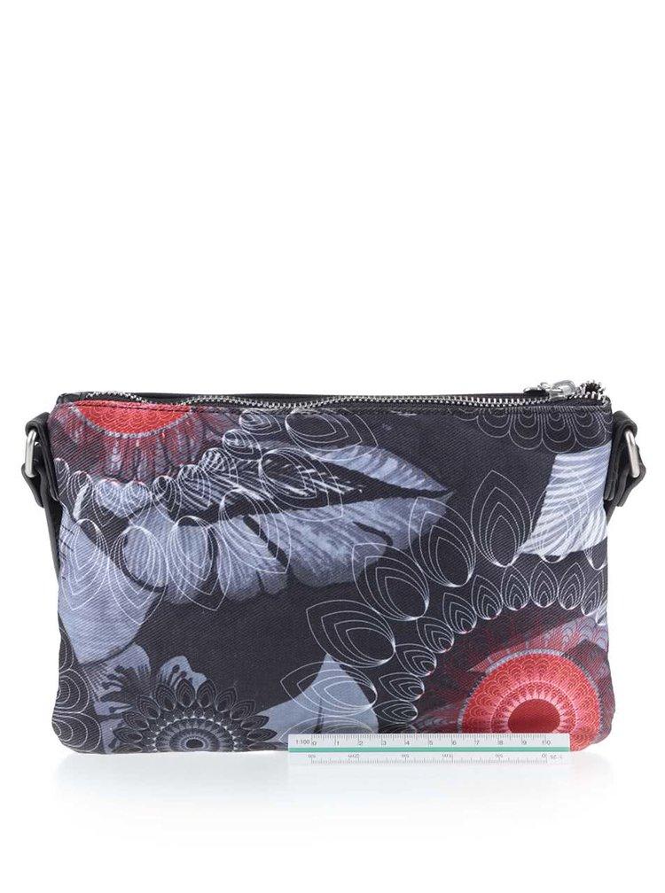 Černá crossbody kabelka s šedo-červenými vzory Desigual Toulouse Same