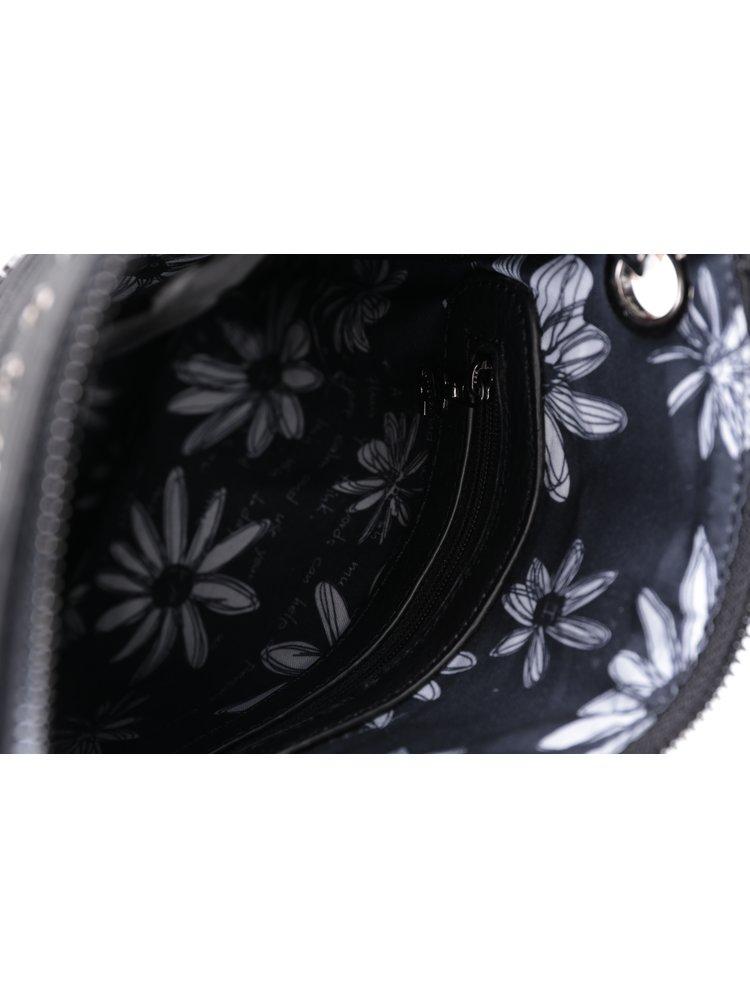 Čierna crossbody kabelka s bielymi kvetmi Desigual Bandolera