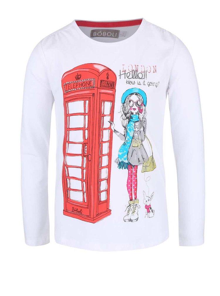 Bílé holčičí tričko s dívkou v Londýně Bóboli