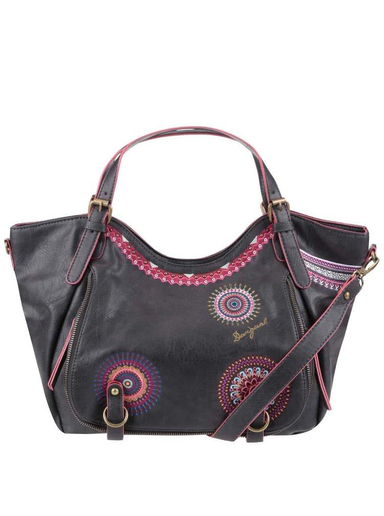 Černá kabelka s růžovými vzory Desigual Rotterdam Greta