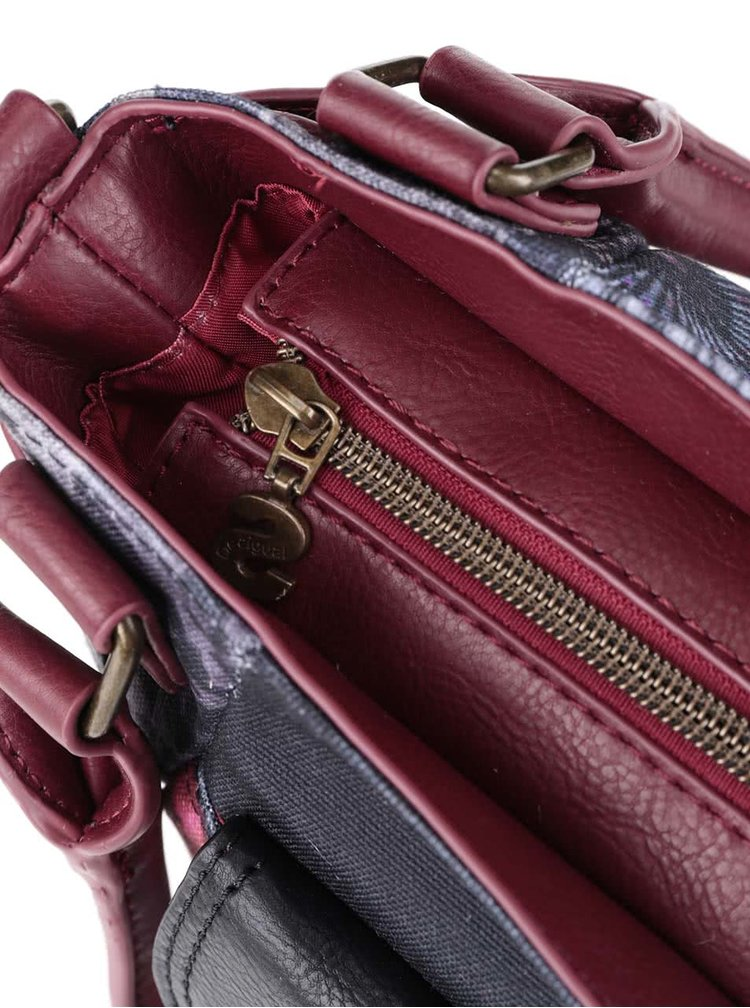 Černá kabelka s červenými vzory Desigual McBee Red Garden