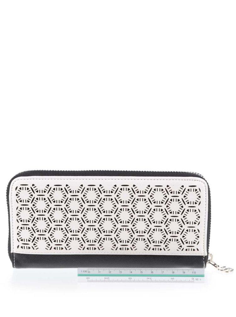 Černo-krémová vzorovaná peněženka Desigual Olga