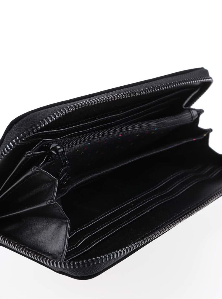 Čierna matná peňaženka s detailmi v striebornej farbe Desigual New Blond