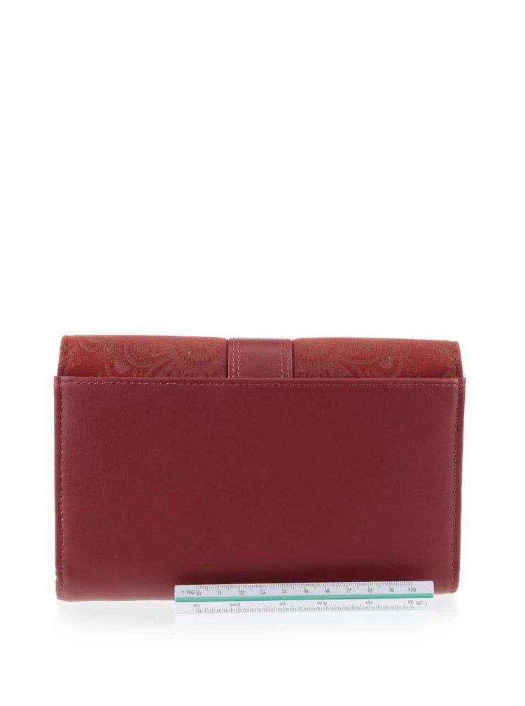 Tehlová peňaženka s prackou v semišovej úprave Desigual Lengueta Velvet