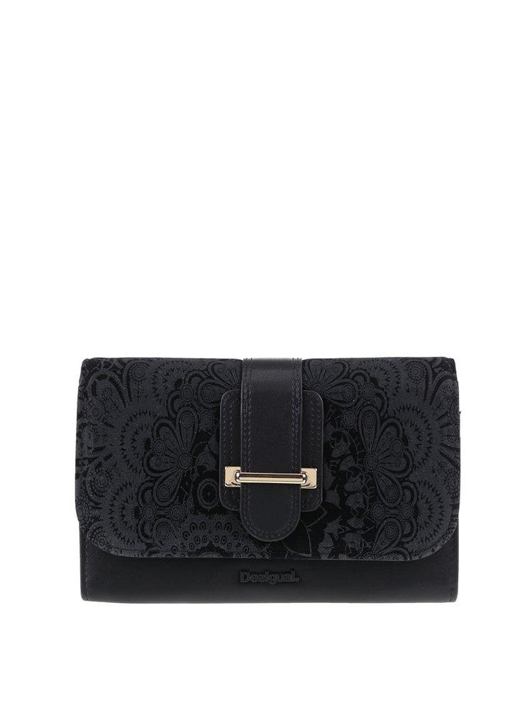 Černá peněženka s přezkou v semišové úpravě Desigual Lengueta Velvet
