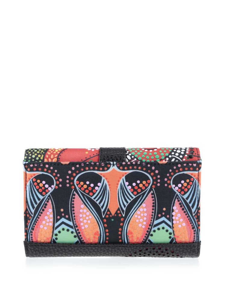 Oranžovo-čierna peňaženka so zeleno-červenými vzormi Desigual LIuka