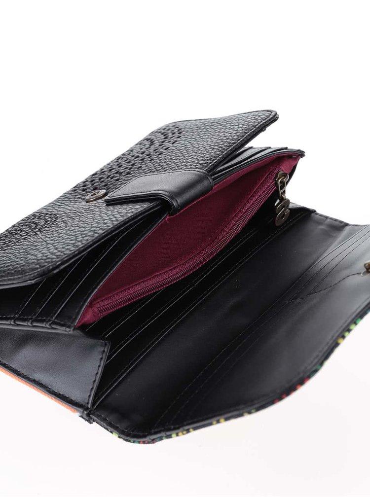 Oranžovo-černá peněženka se zeleno-červenými vzory Desigual Lluka
