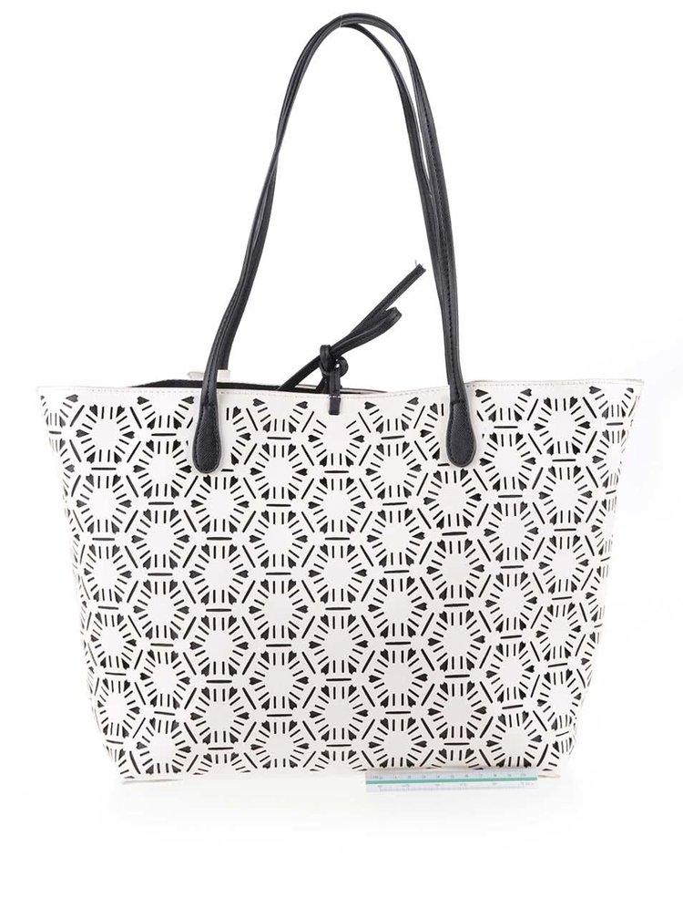 Černo-bílý vzorovaný shopper Desigual Capri Olga