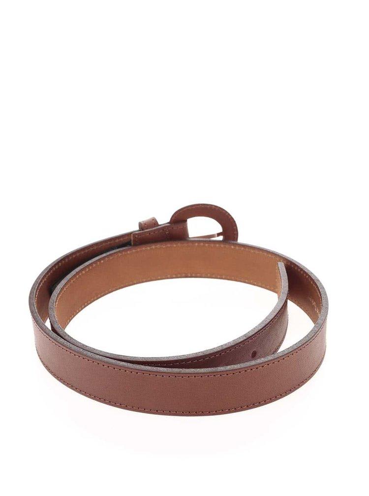 Hnědý kožený pásek s oválnou přezkou Pieces Polto