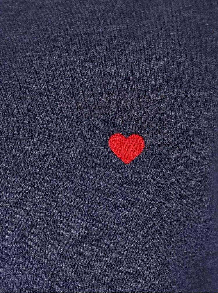 Modrá melírovaná mikina s výšivkami v tvare srdca Dorothy Perkins