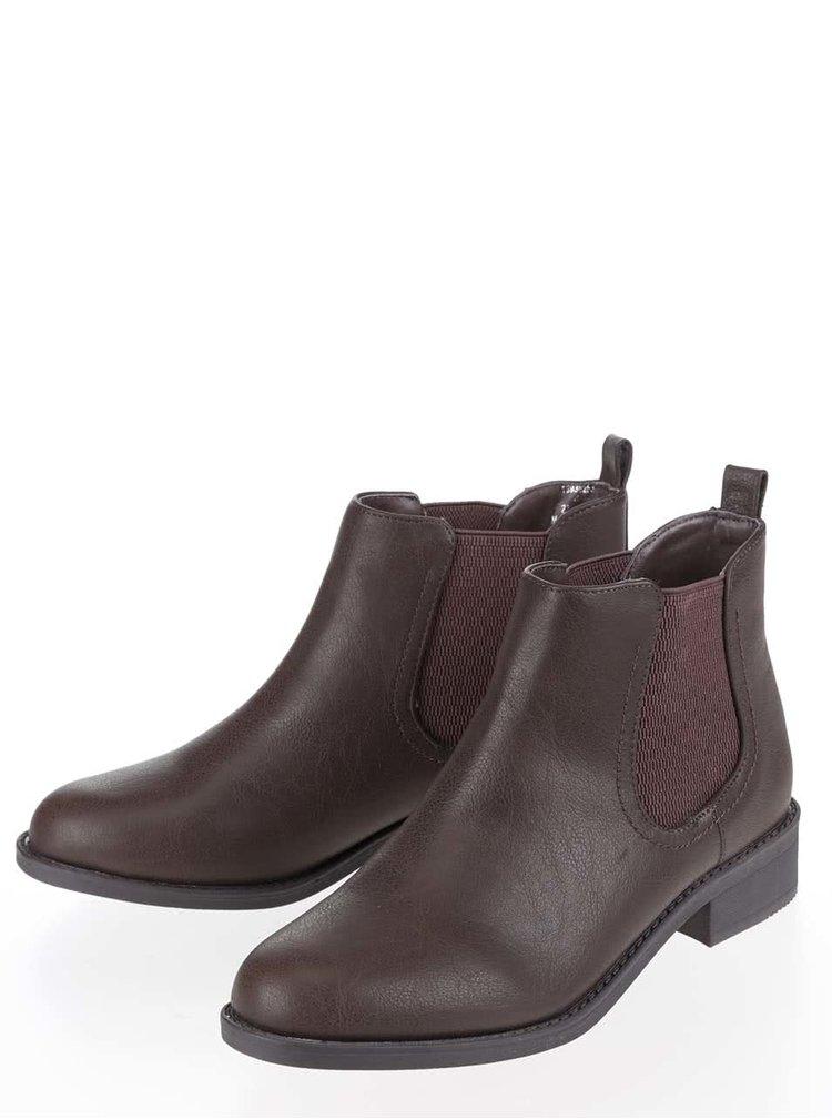 Tmavě hnědé kotníkové chelsea boty Dorothy Perkins