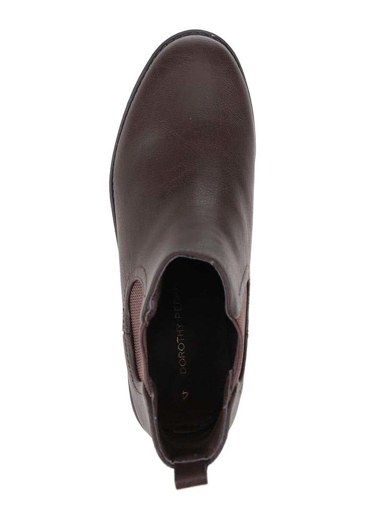 Tmvohnedé členkové chelsea topánky Dorothy Perkins