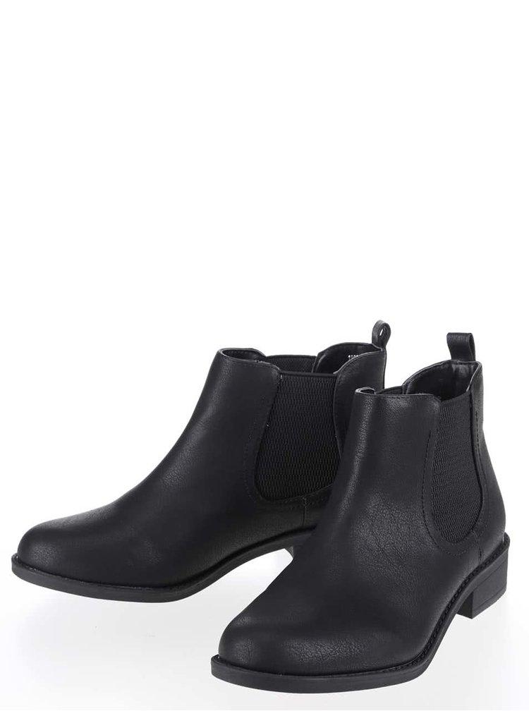 Čierne členkové chelsea topánky Dorothy Perkins