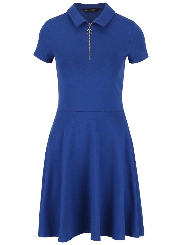 Modré šaty s límečkem a zipem ve výstřihu Dorothy Perkins