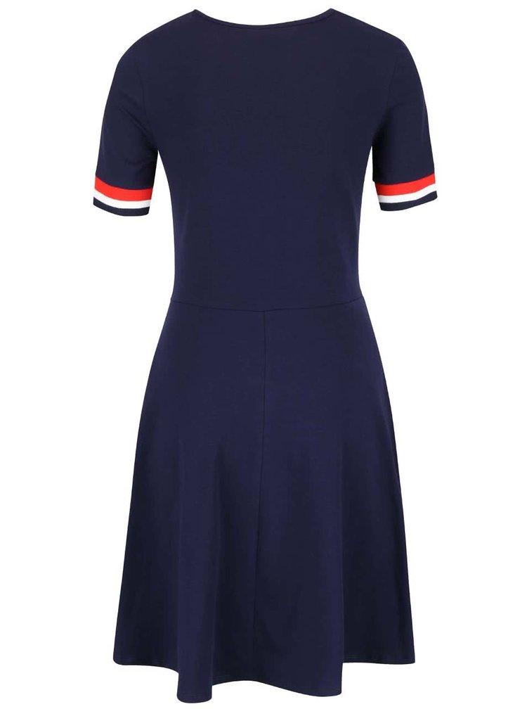 Tmavomodré šaty s červeno-bielym lemom Dorothy Perkins