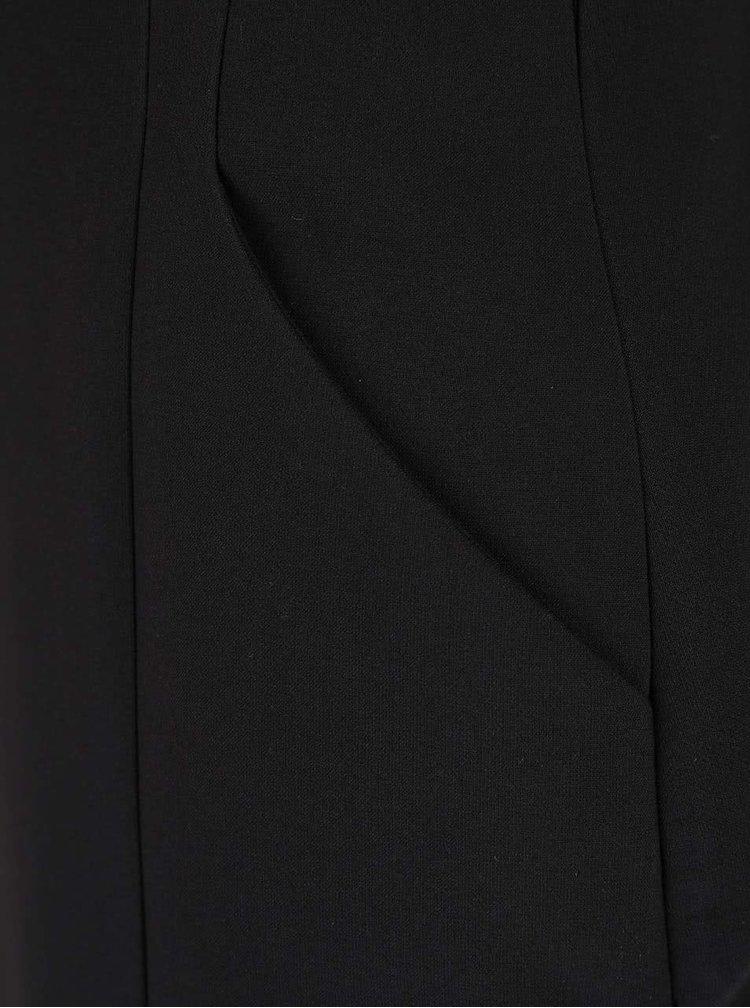 Černé pouzdrové šaty s rozparkem a páskem Dorothy Perkins
