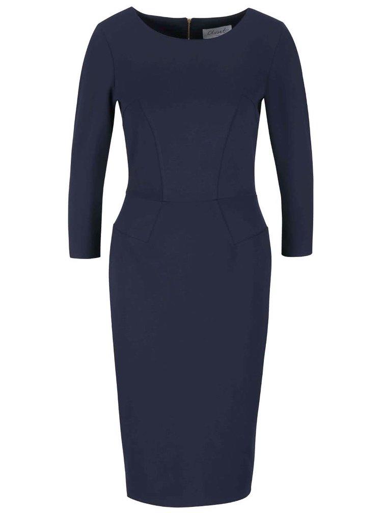 Tmavomodré puzdrové šaty s 3/4 rukávmi Closet