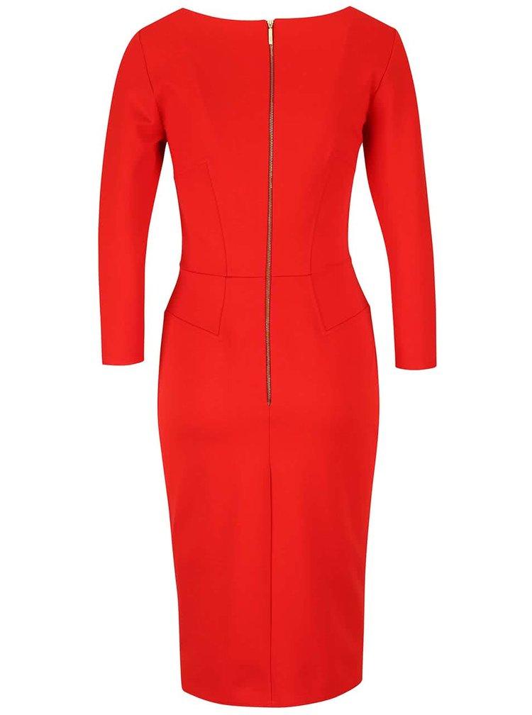 Červené puzdrové šaty s 3/4 rukávmi Closet