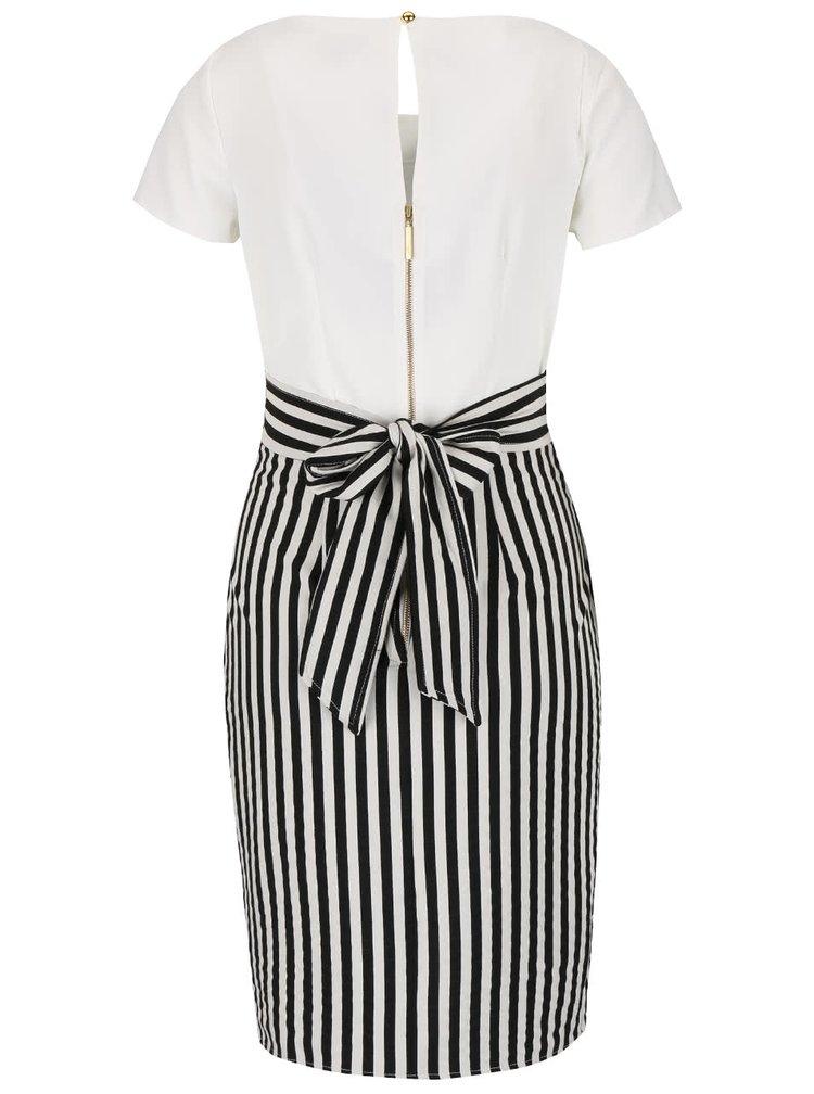 Bílo-černé šaty s pruhovanou sukní Closet