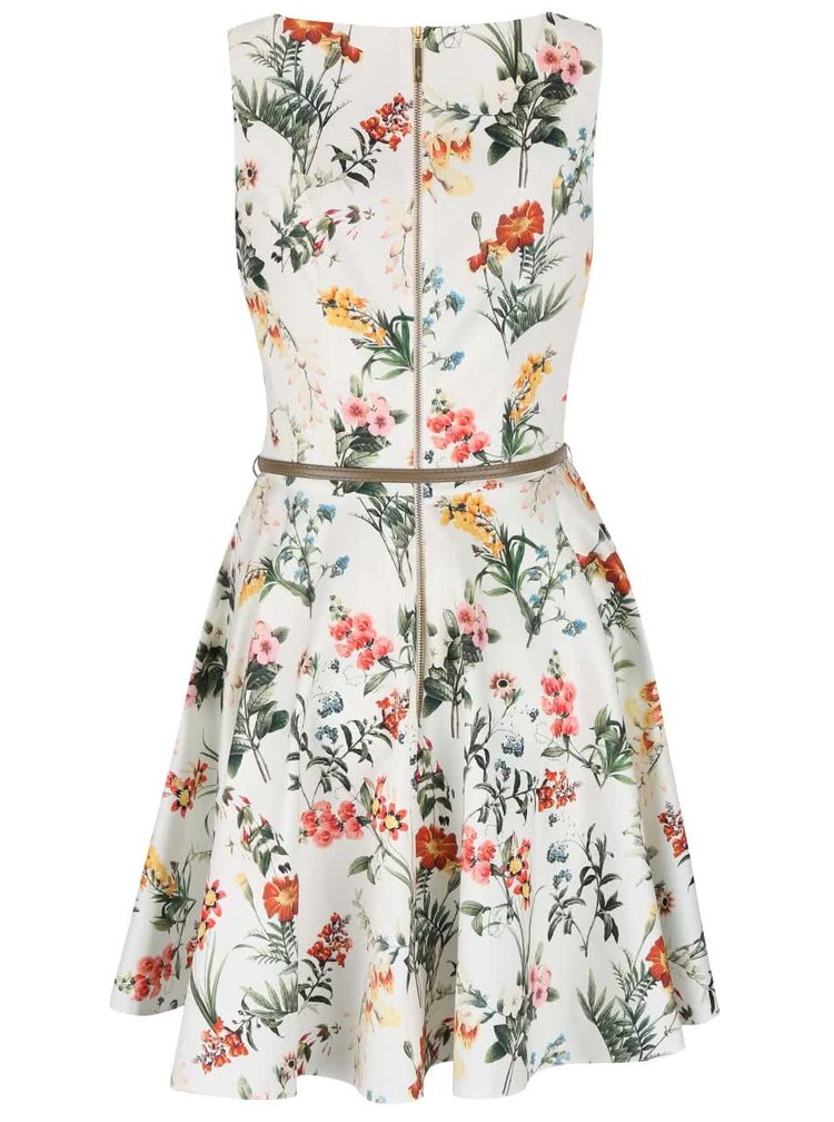 Krémové kvetované šaty s béžovým opaskom Closet