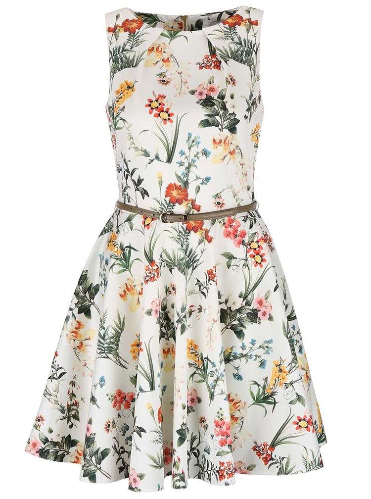 Krémové květované šaty s béžovým páskem Closet