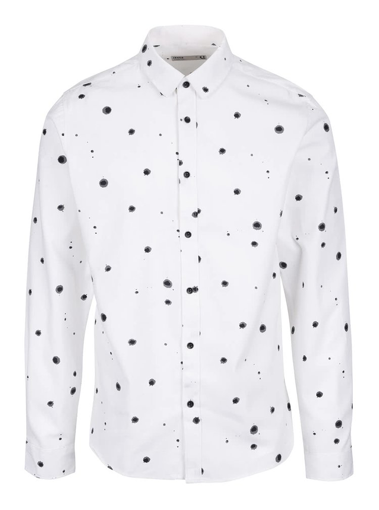 Krémová košile s černými kaňkami !Solid Dekel