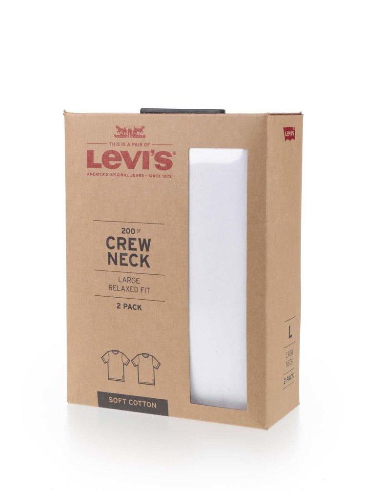 Sada dvou bílých pánských trik s kulatým výstřihem Levi's
