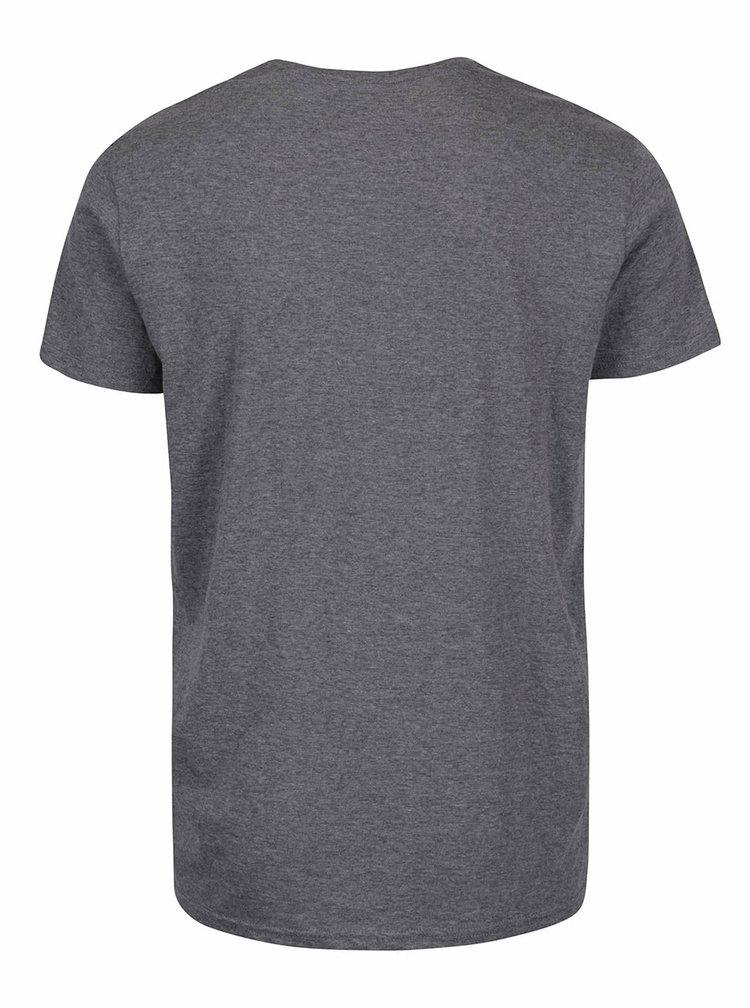 Sivé melírované tričko s potlačou !Solid Eliya