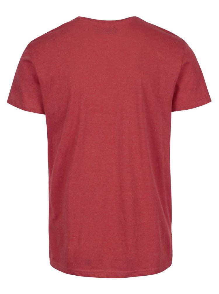 Červené melírované tričko s potlačou číslice !Solid Elif