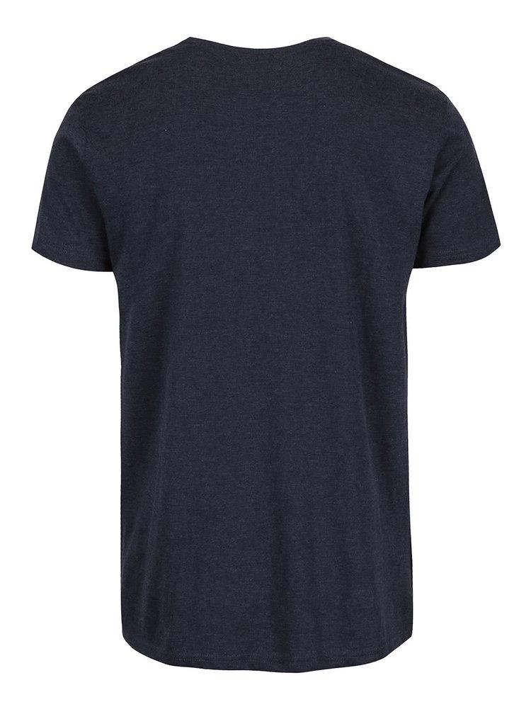 Modrošedé žíhané triko s potiskem !Solid Elif