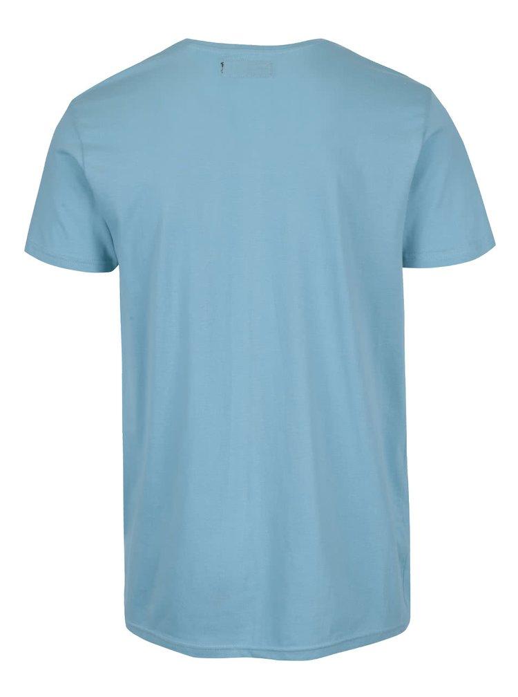 Světle modré triko s potiskem !Solid Duha