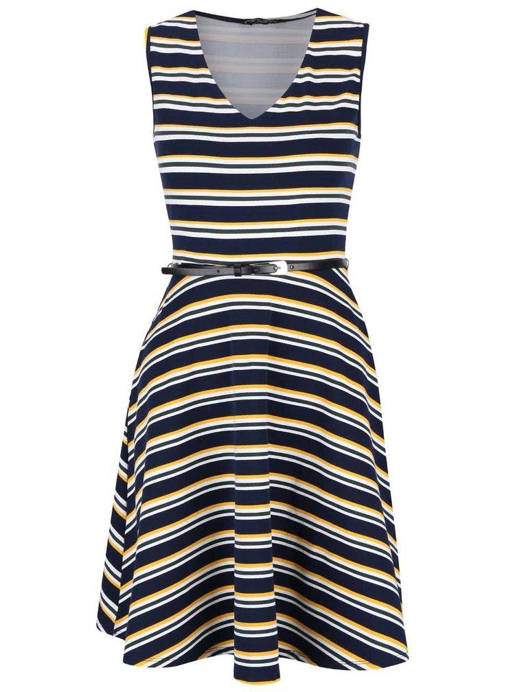 Tmavě modré šaty s barevnými pruhy Dorothy Perkins